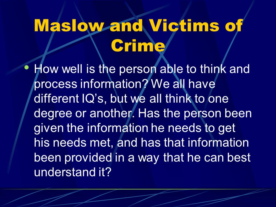 Maslow and Victims of Crime