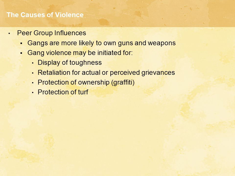 The Causes of Violence Peer Group Influences. Gangs are more likely to own guns and weapons. Gang violence may be initiated for: