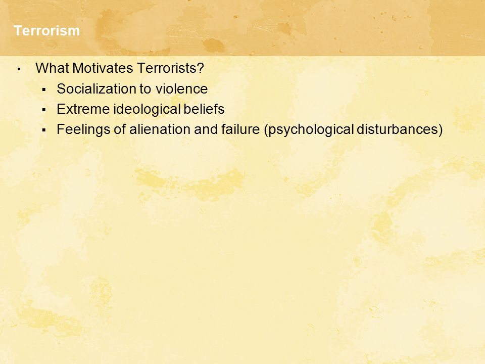 Terrorism What Motivates Terrorists Socialization to violence. Extreme ideological beliefs.