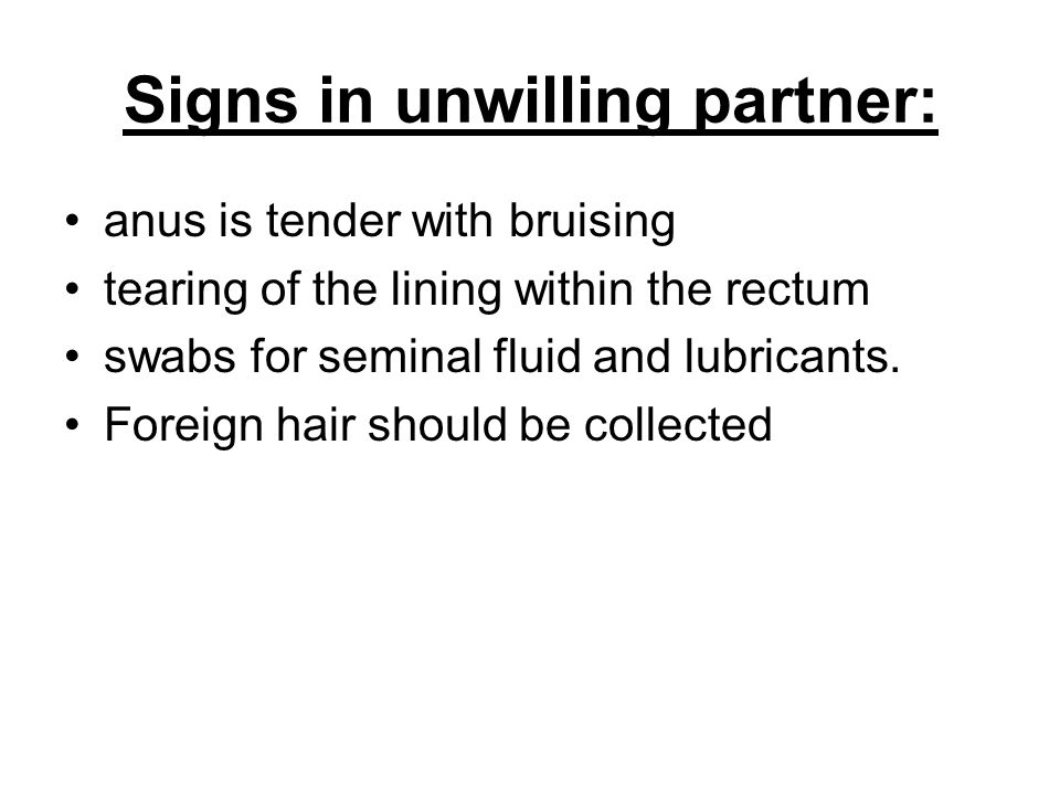 Signs in unwilling partner: