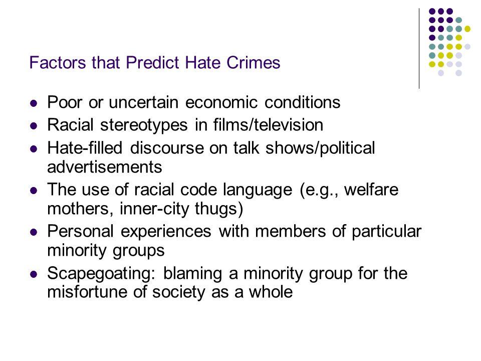 Factors that Predict Hate Crimes