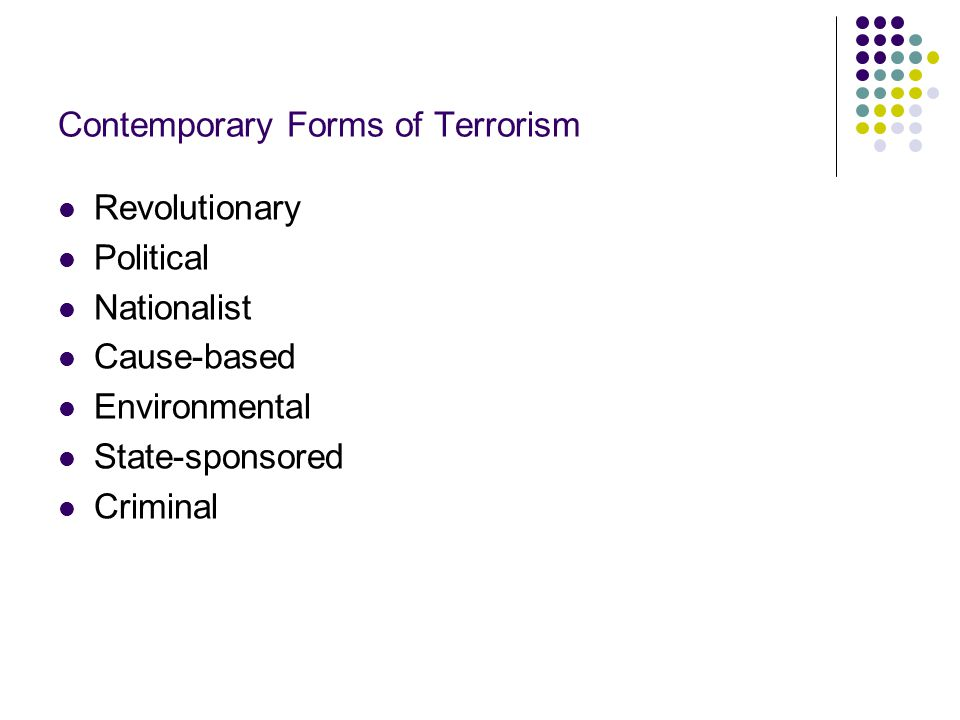 Contemporary Forms of Terrorism