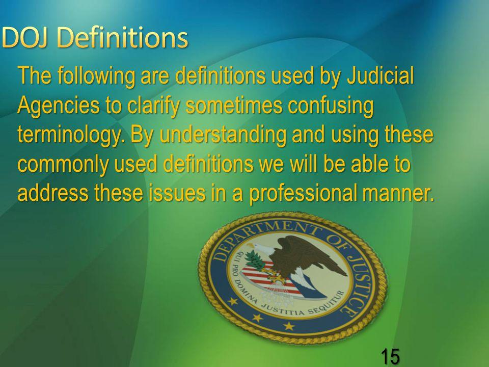 DOJ Definitions