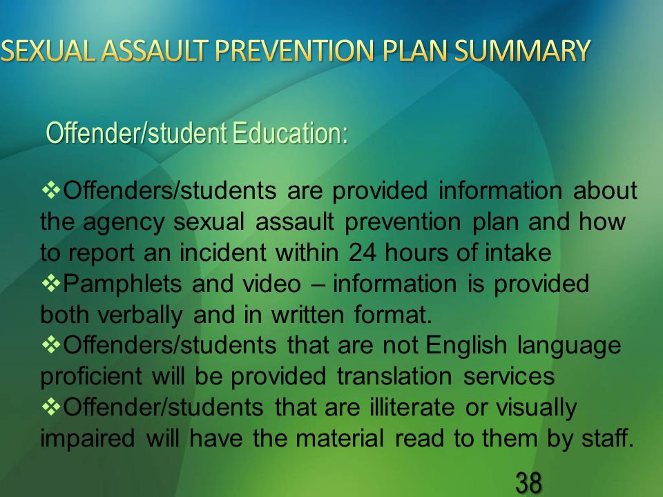 SEXUAL ASSAULT PREVENTION PLAN SUMMARY