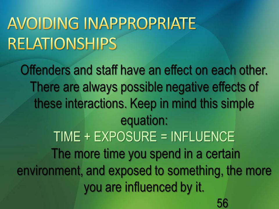 AVOIDING INAPPROPRIATE RELATIONSHIPS
