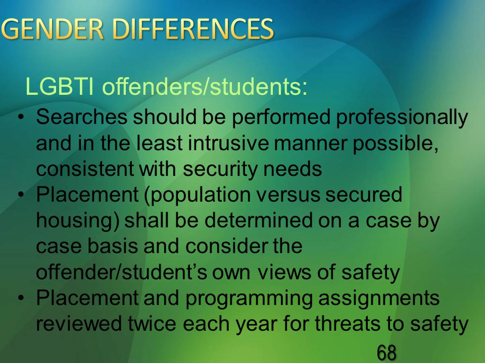 GENDER DIFFERENCES LGBTI offenders/students: