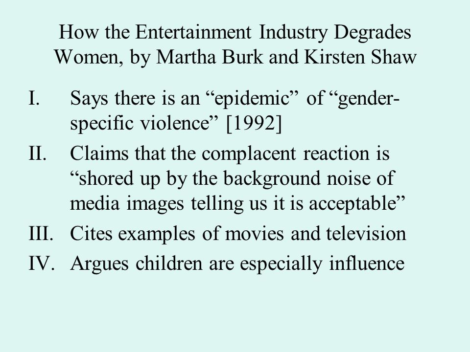 How the Entertainment Industry Degrades Women, by Martha Burk and Kirsten Shaw