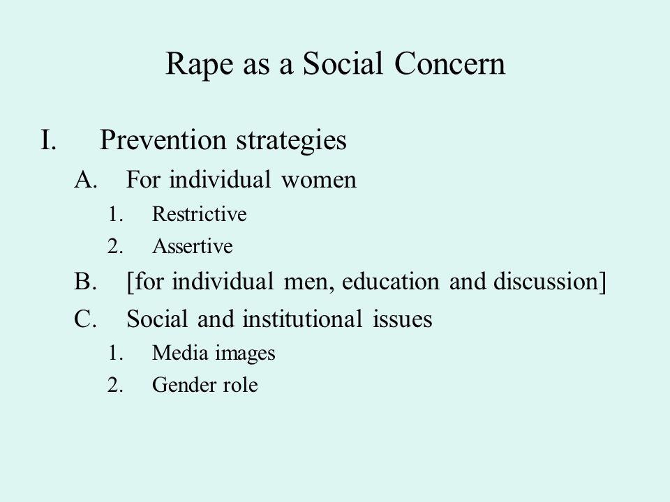 Rape as a Social Concern