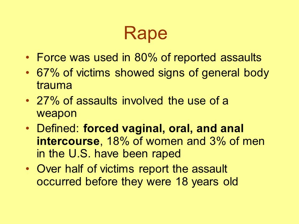 Rape Force was used in 80% of reported assaults