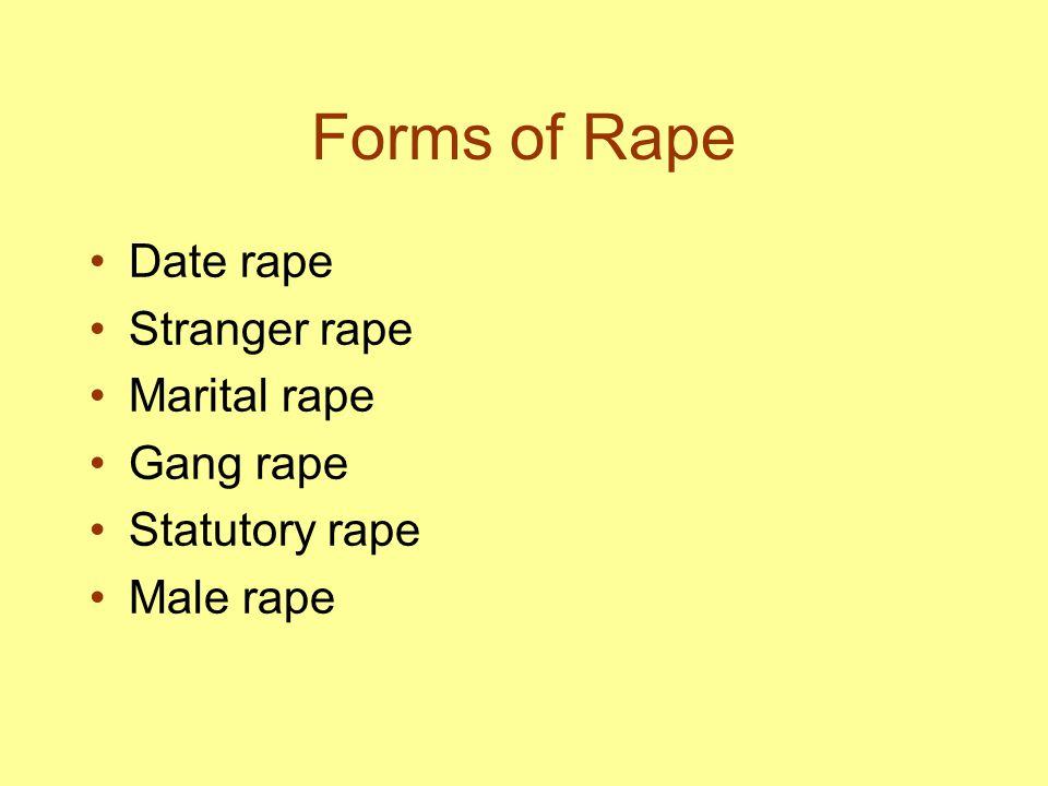 Forms of Rape Date rape Stranger rape Marital rape Gang rape