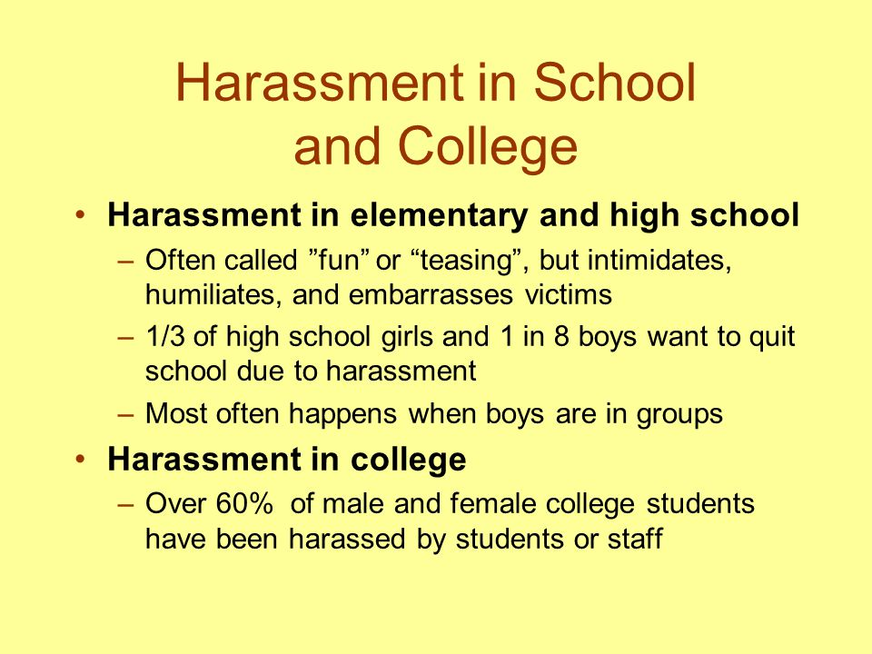 Harassment in School and College