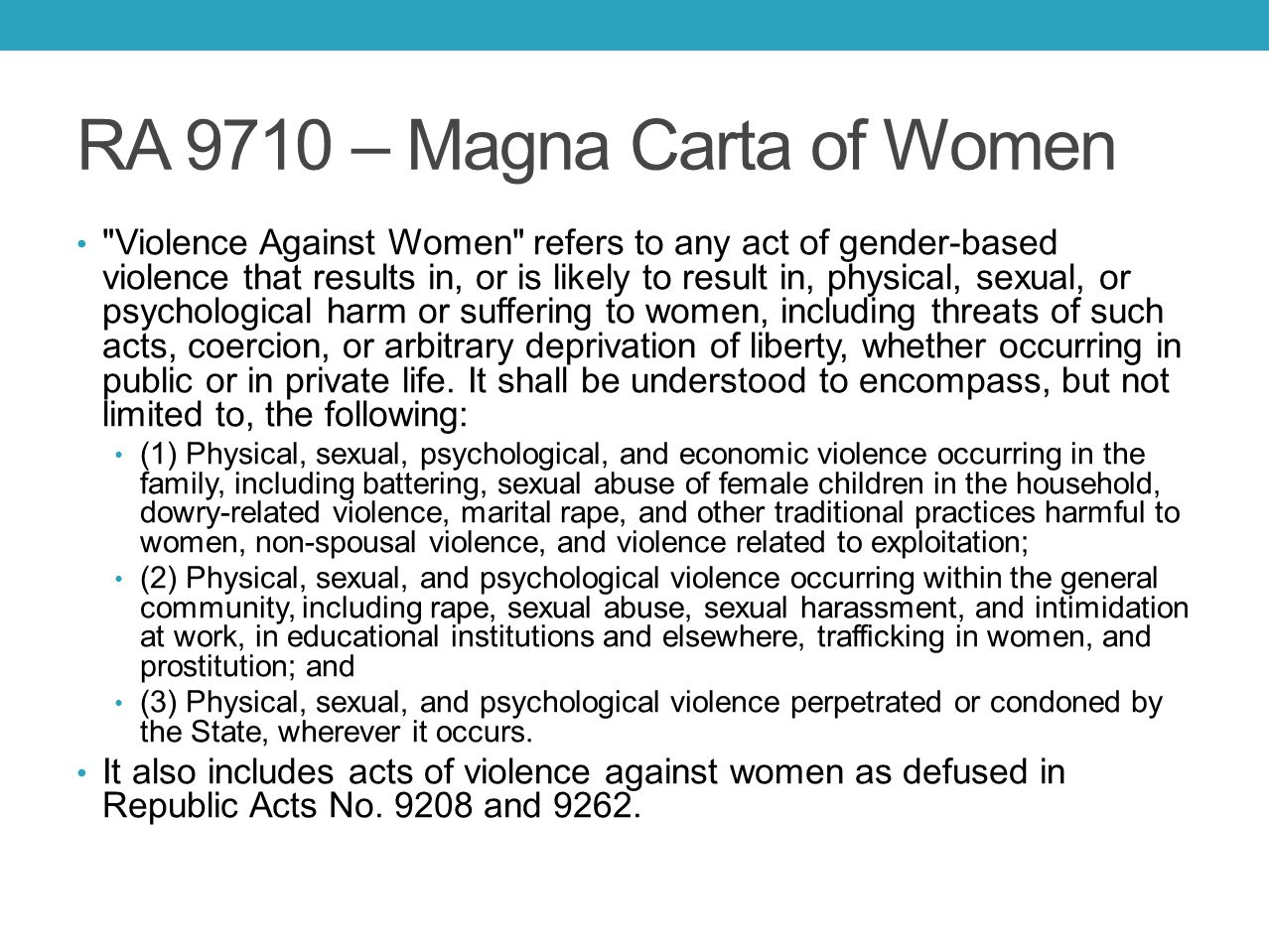 RA 9710 – Magna Carta of Women