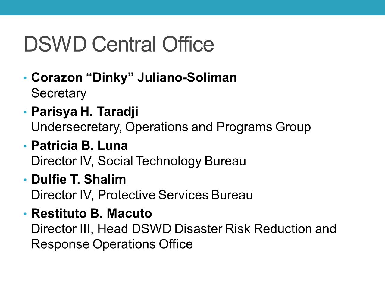 DSWD Central Office Corazon Dinky Juliano-Soliman Secretary
