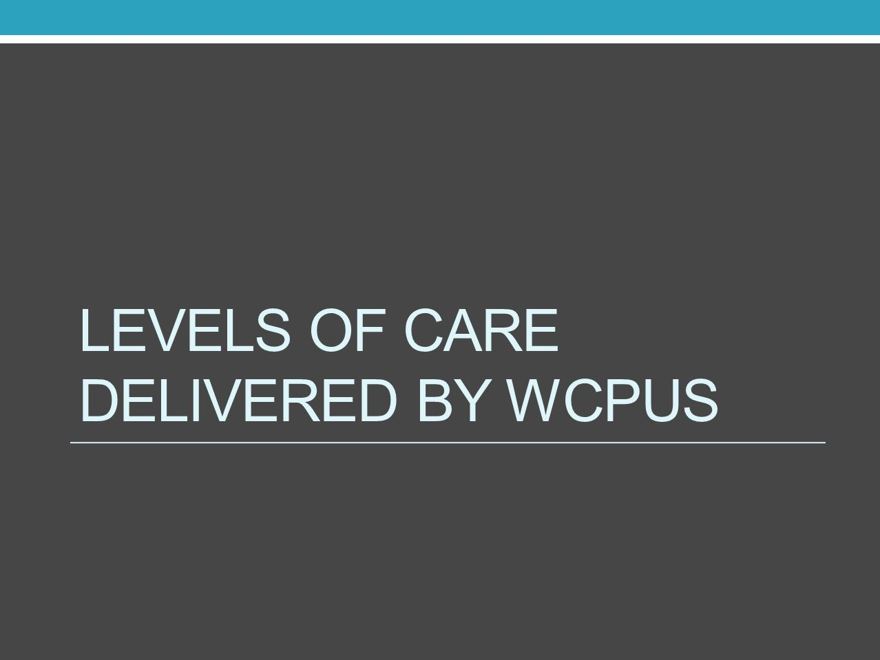 LEVELS OF CARE DELIVERED BY WCPUs