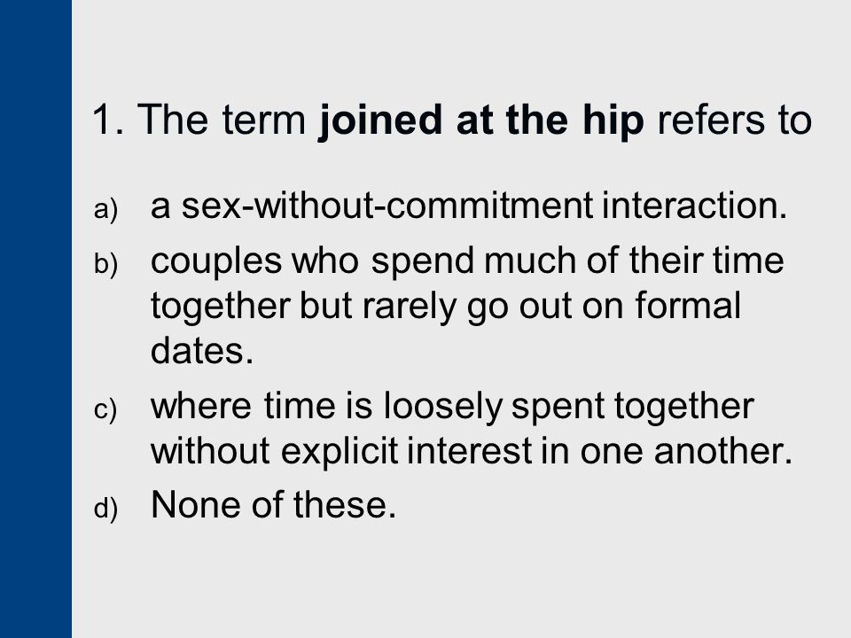 1. The term joined at the hip refers to