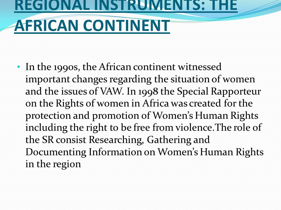 REGIONAL INSTRUMENTS: THE AFRICAN CONTINENT