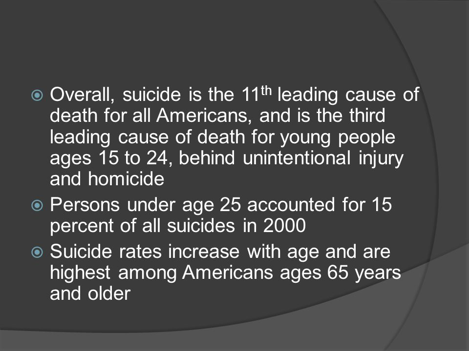Overall, suicide is the 11th leading cause of death for all Americans, and is the third leading cause of death for young people ages 15 to 24, behind unintentional injury and homicide