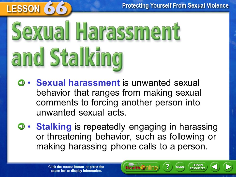 Sexual Harassment and Stalking