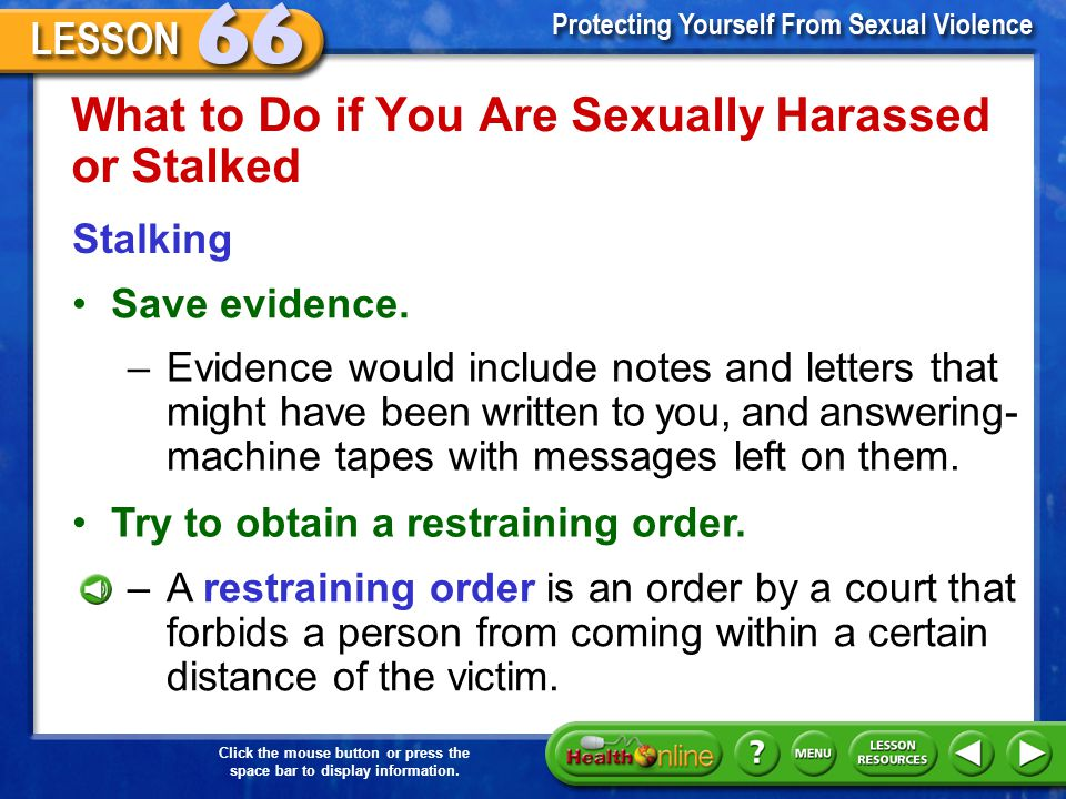 What to Do if You Are Sexually Harassed or Stalked