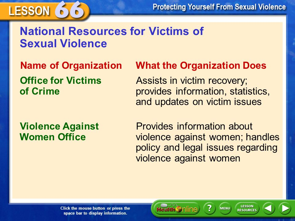 National Resources for Victims of Sexual Violence