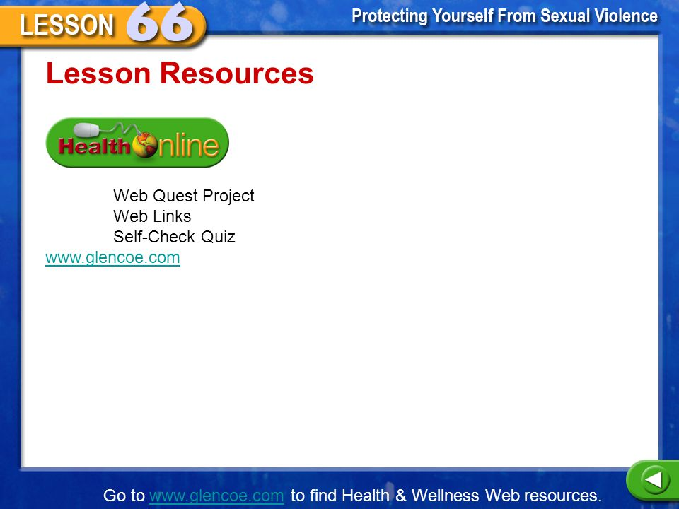 Lesson Resources Web Quest Project Web Links Self-Check Quiz