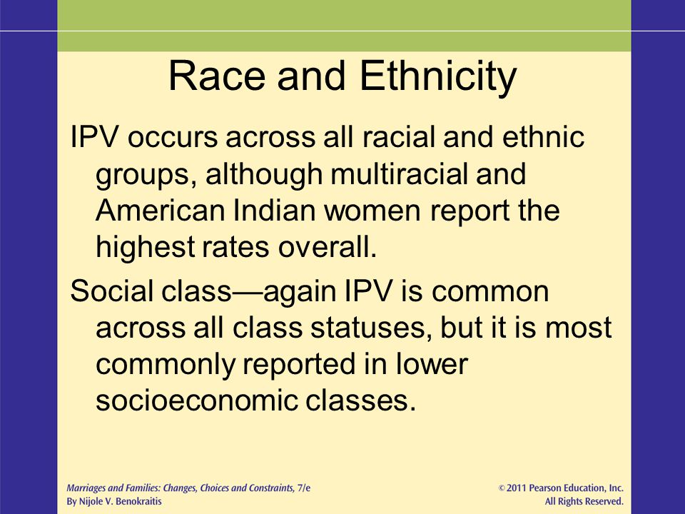Race and Ethnicity IPV occurs across all racial and ethnic groups, although multiracial and American Indian women report the highest rates overall.