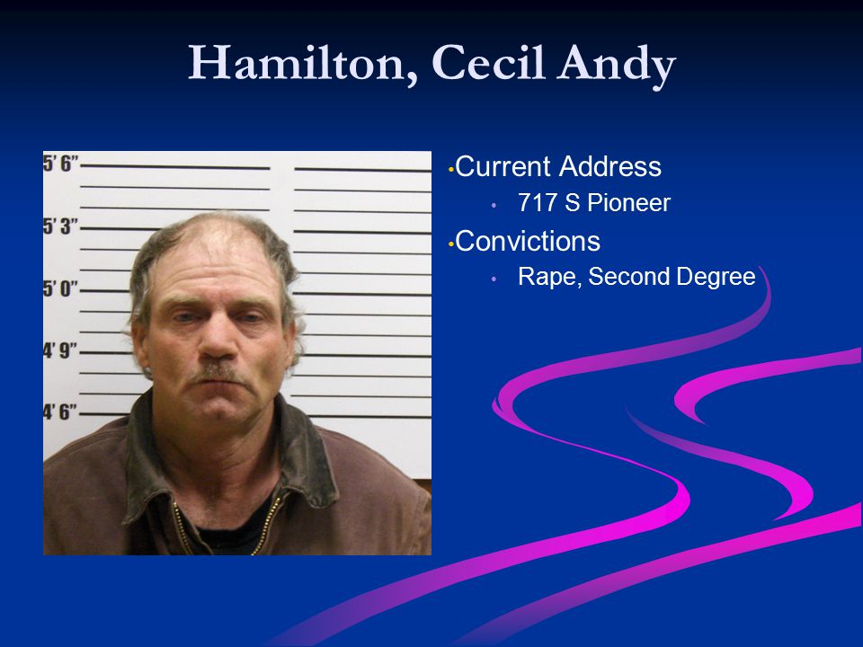 Hamilton, Cecil Andy Current Address Convictions 717 S Pioneer