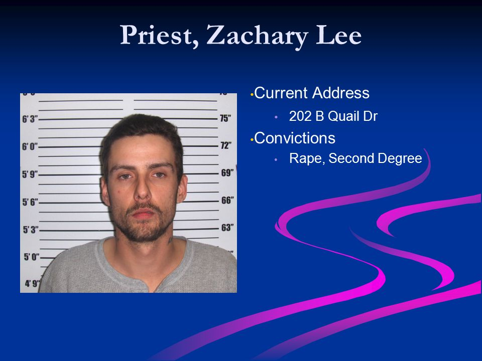 Priest, Zachary Lee Current Address Convictions 202 B Quail Dr