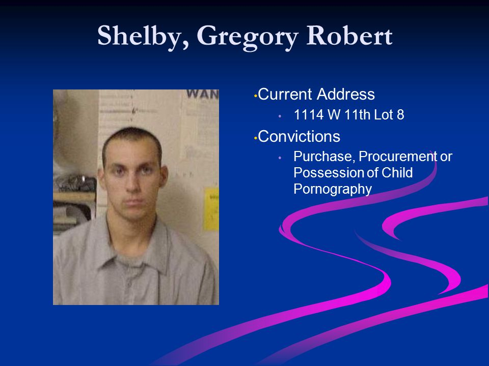 Shelby, Gregory Robert Current Address Convictions 1114 W 11th Lot 8