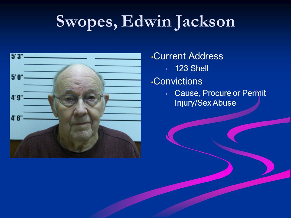 Swopes, Edwin Jackson Current Address Convictions 123 Shell