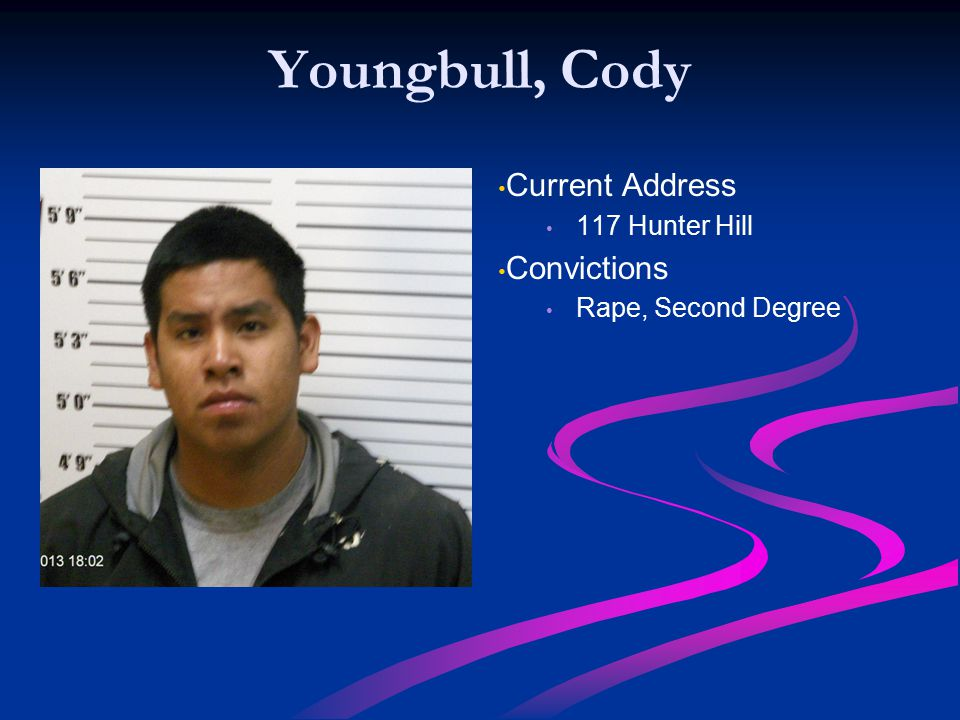 Youngbull, Cody Current Address Convictions 117 Hunter Hill