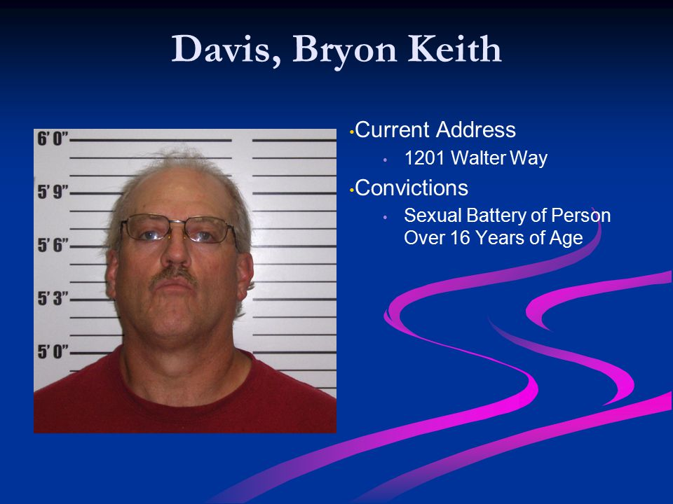 Davis, Bryon Keith Current Address Convictions 1201 Walter Way