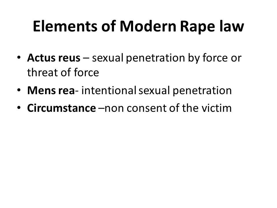 Elements of Modern Rape law