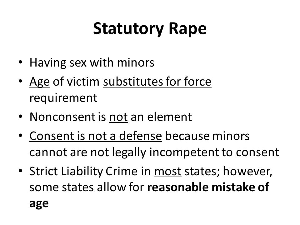 Statutory Rape Having sex with minors