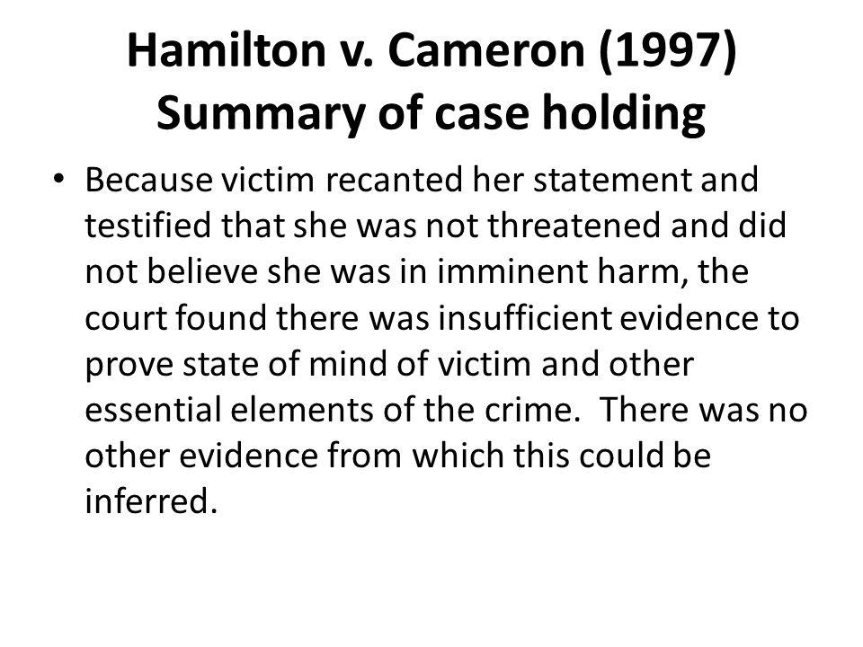 Hamilton v. Cameron (1997) Summary of case holding