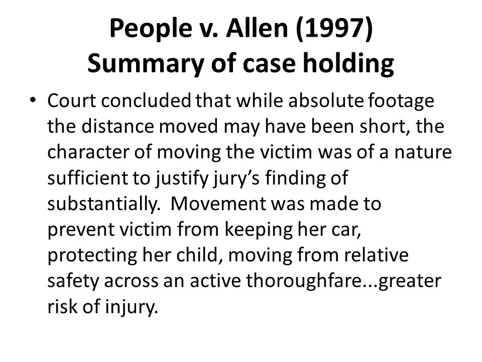 People v. Allen (1997) Summary of case holding