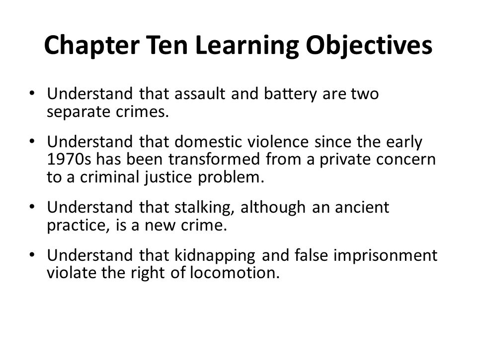 Chapter Ten Learning Objectives
