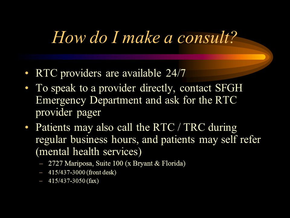 How do I make a consult RTC providers are available 24/7