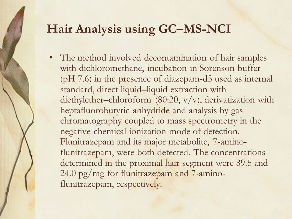 Hair Analysis using GC–MS-NCI