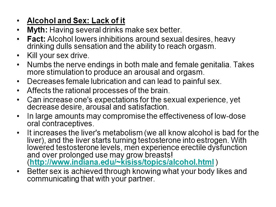 Alcohol and Sex: Lack of it