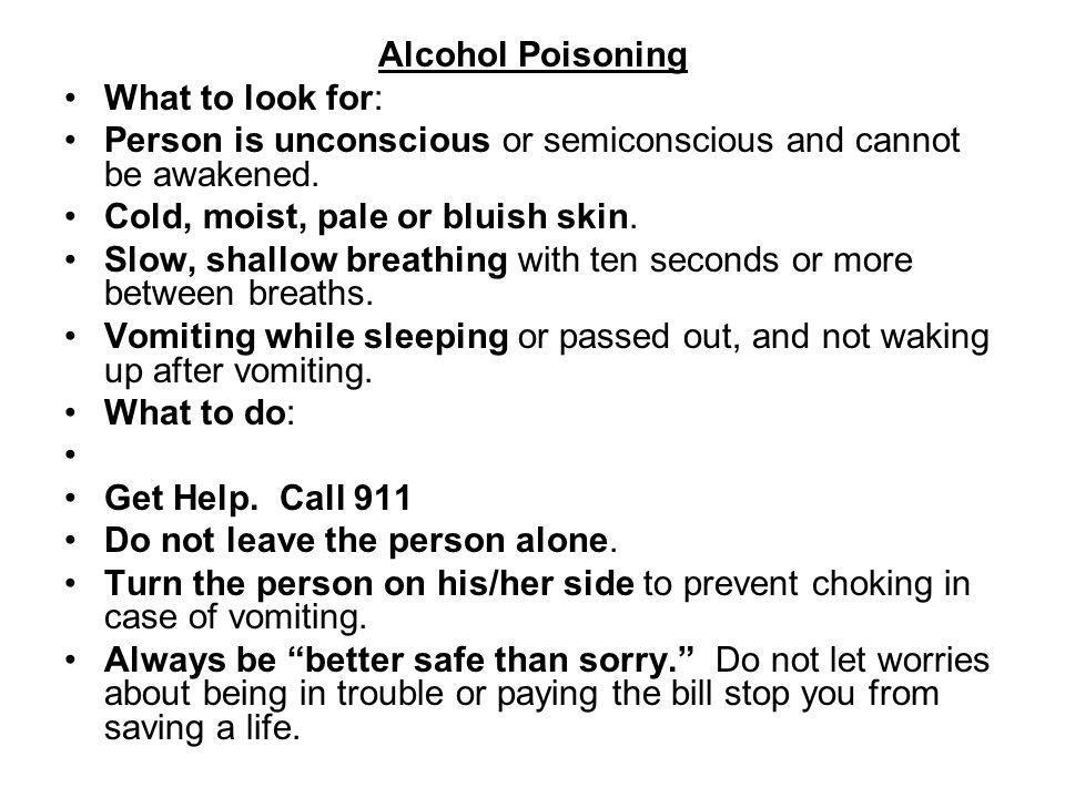 Alcohol Poisoning What to look for: Person is unconscious or semiconscious and cannot be awakened.