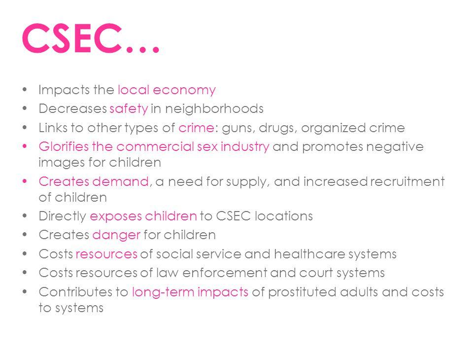 CSEC… Impacts the local economy Decreases safety in neighborhoods