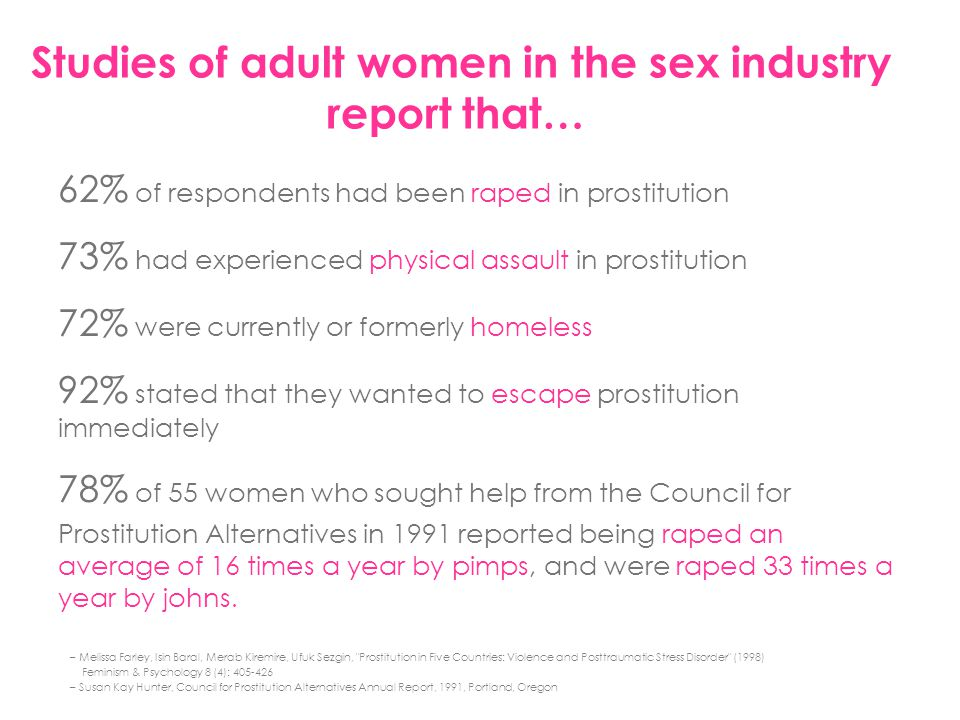 Studies of adult women in the sex industry report that…