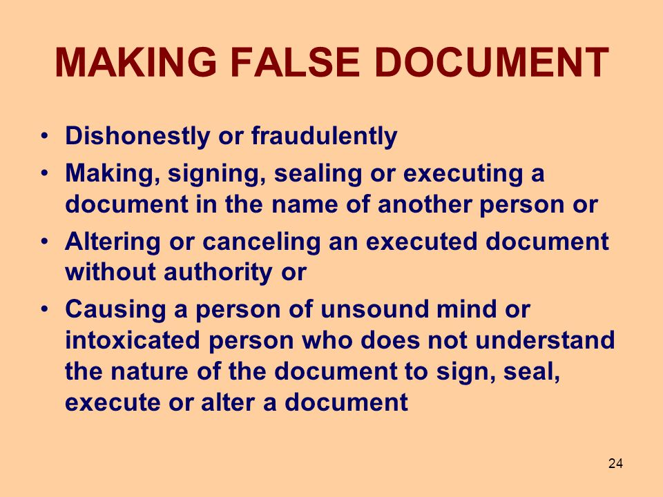 MAKING FALSE DOCUMENT Dishonestly or fraudulently