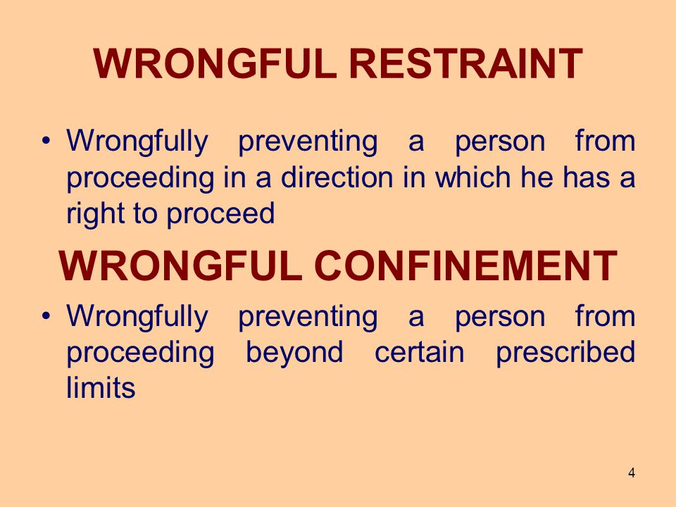 WRONGFUL RESTRAINT WRONGFUL CONFINEMENT