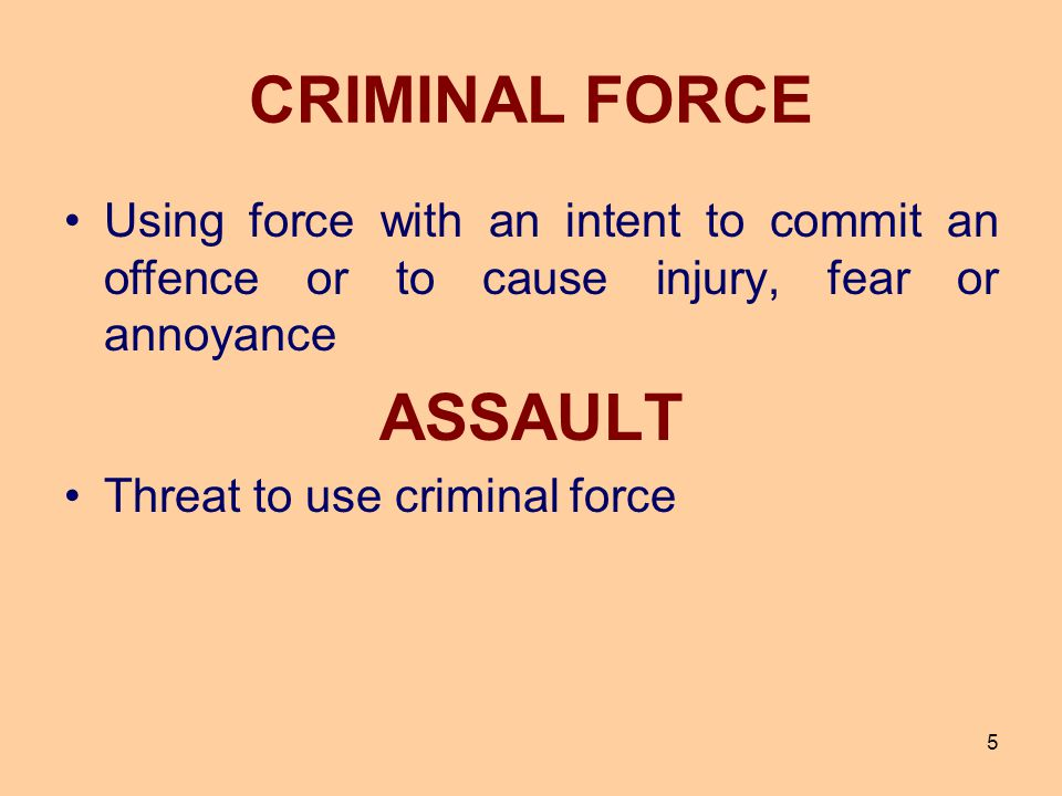 CRIMINAL FORCE ASSAULT