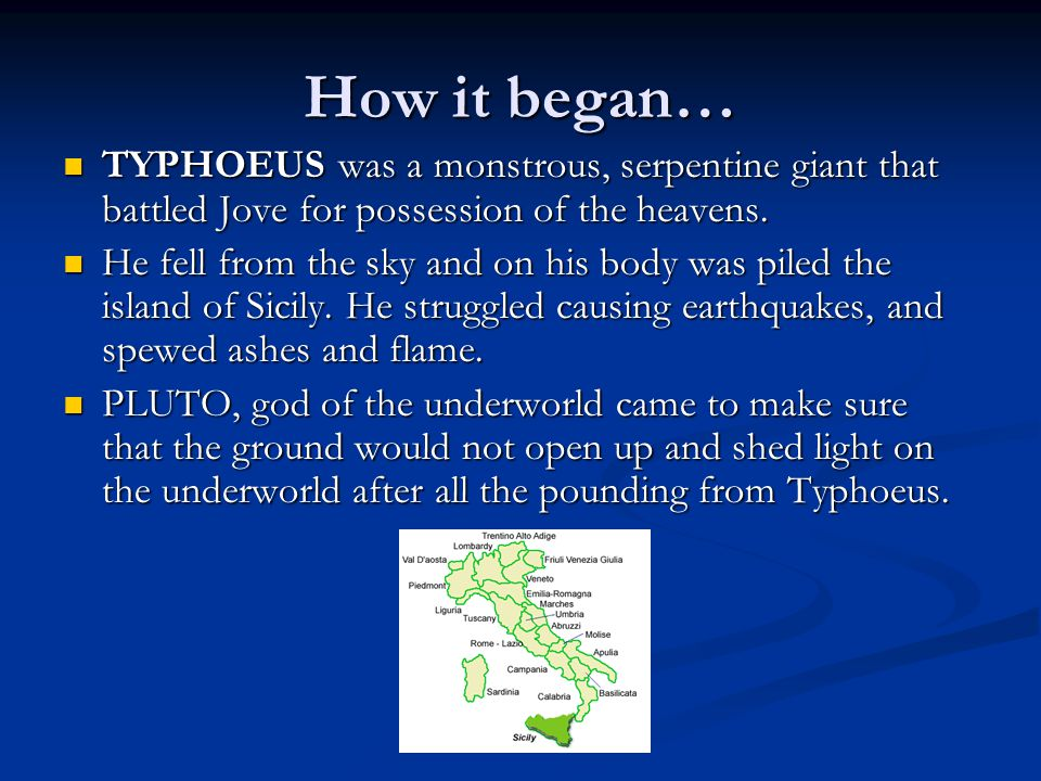 How it began… TYPHOEUS was a monstrous, serpentine giant that battled Jove for possession of the heavens.