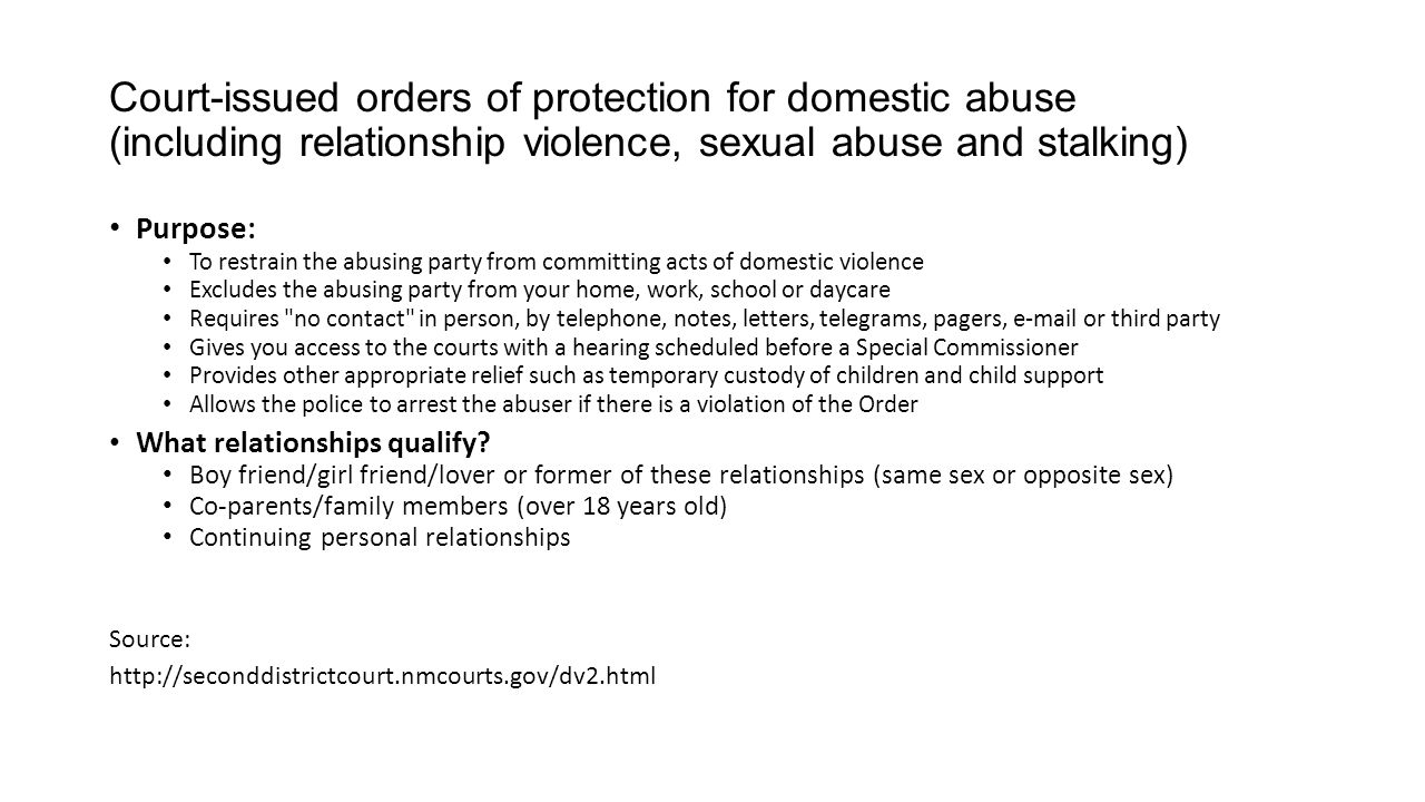 Court-issued orders of protection for domestic abuse (including relationship violence, sexual abuse and stalking)