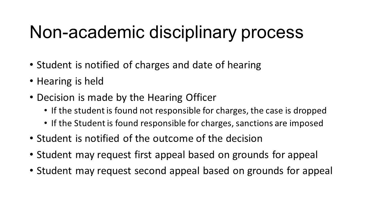 Non-academic disciplinary process