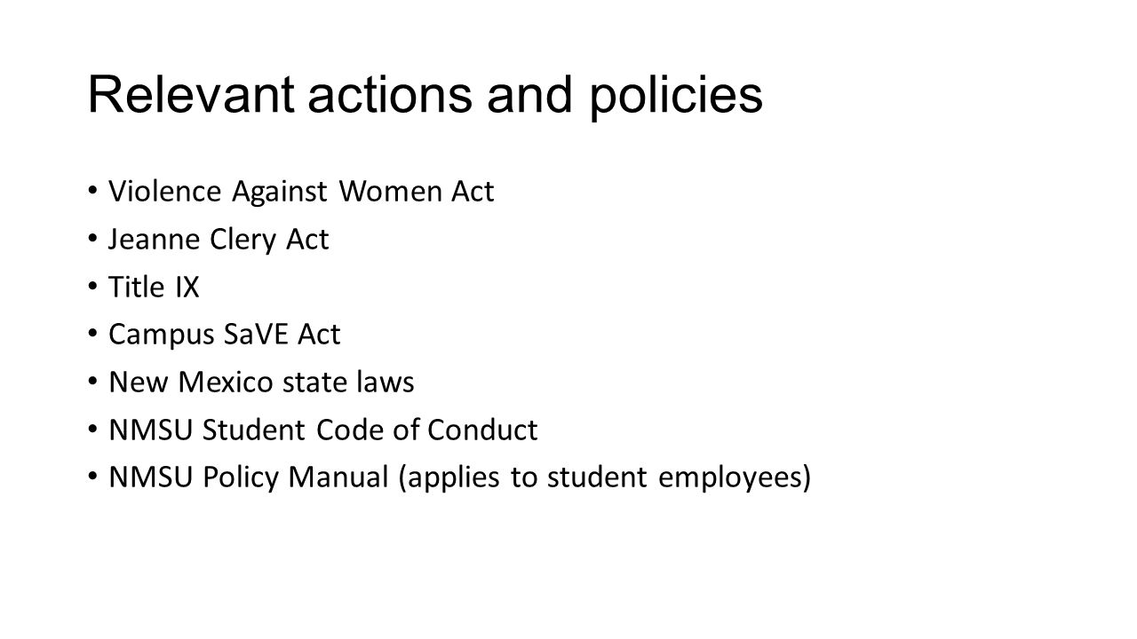Relevant actions and policies